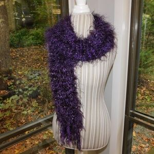 Accessories - Artisan made heavy purple fuzzy scarf
